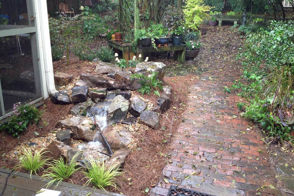 Pondless Waterfall Next To Pathway