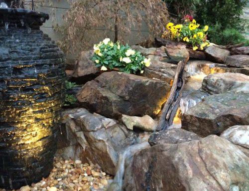 Vase Fountain Next To Stream
