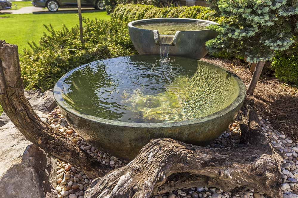 Pondless Spillway Bowls With Driftwood