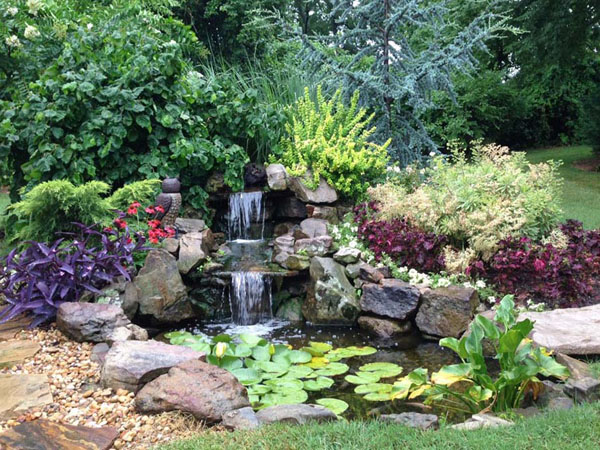Beautiful pond with double waterfall